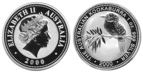 1oz silver kookaburra forgery (2000) 31g, 40mm